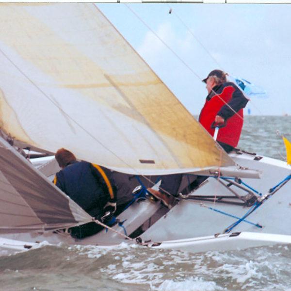 Close up photo of boat sailing.