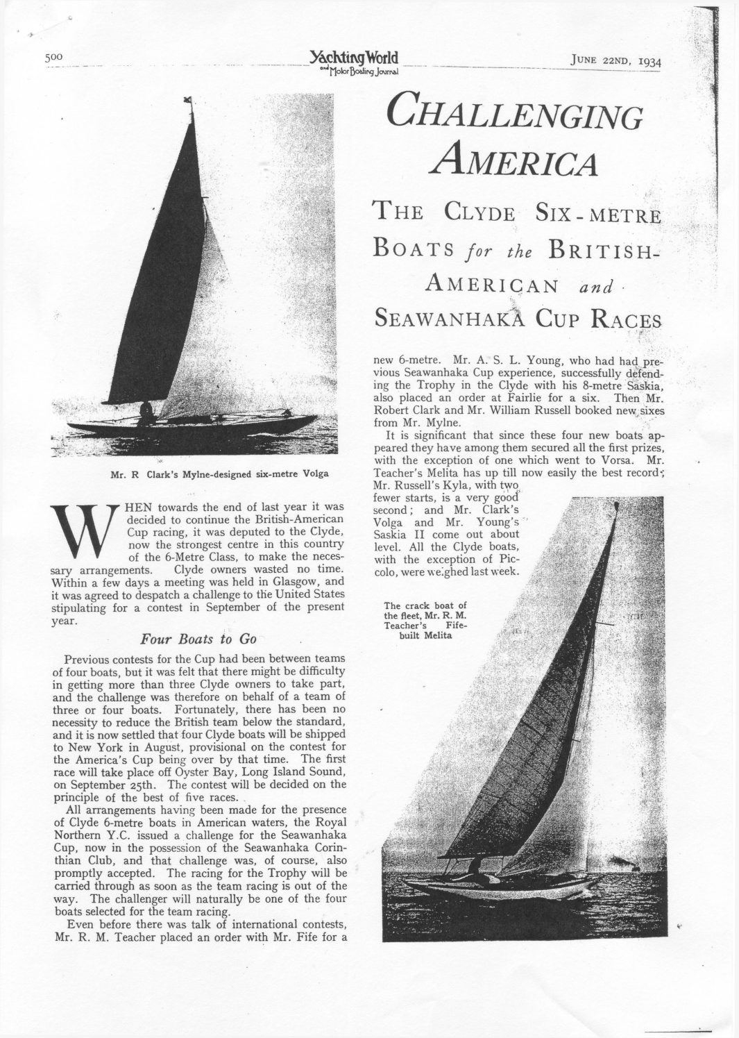 Yachting World, June 1934