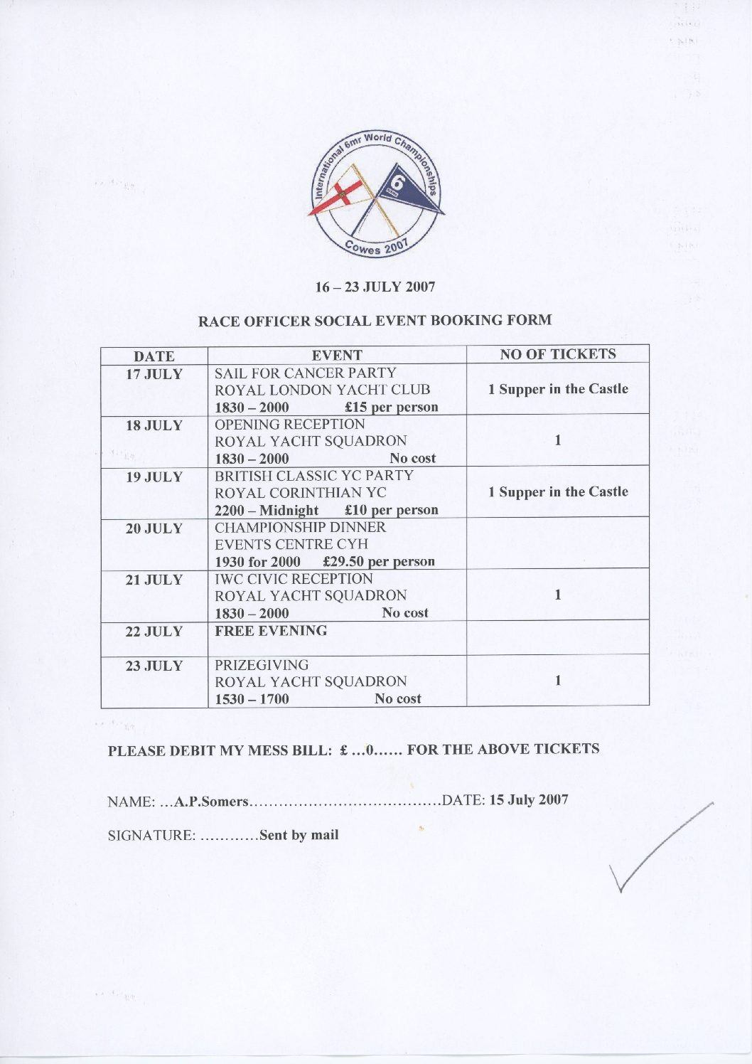 Booking form, World Championships 2007