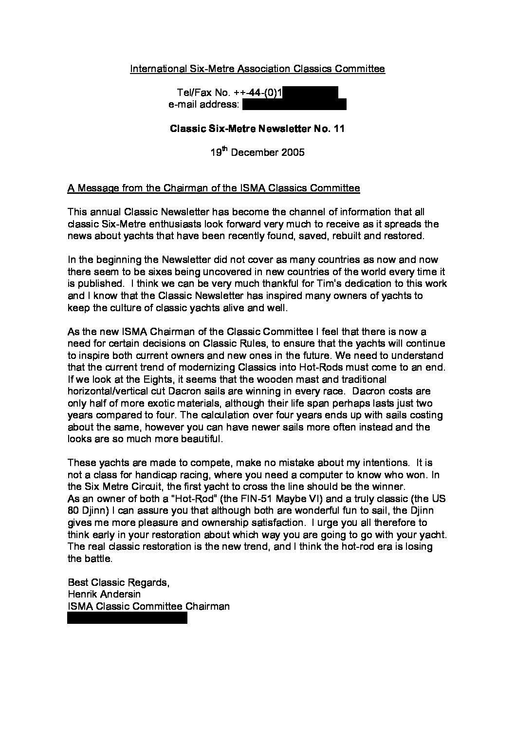 Newsletter 11, 2005