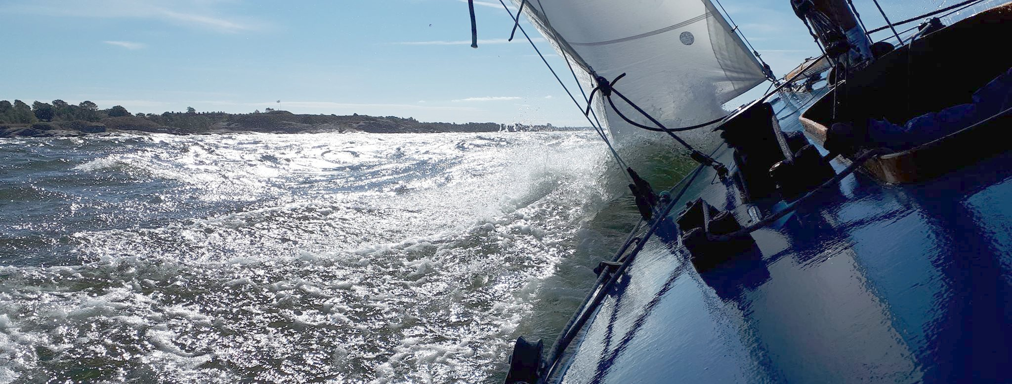 View from deck of sailing boat