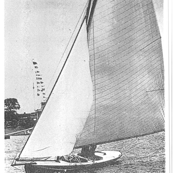 Black and white photo of boat sailing