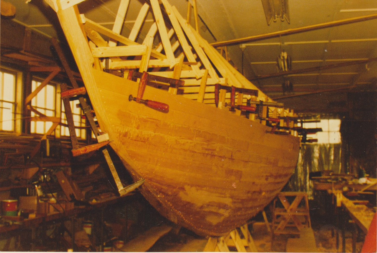 Wooden boat being built