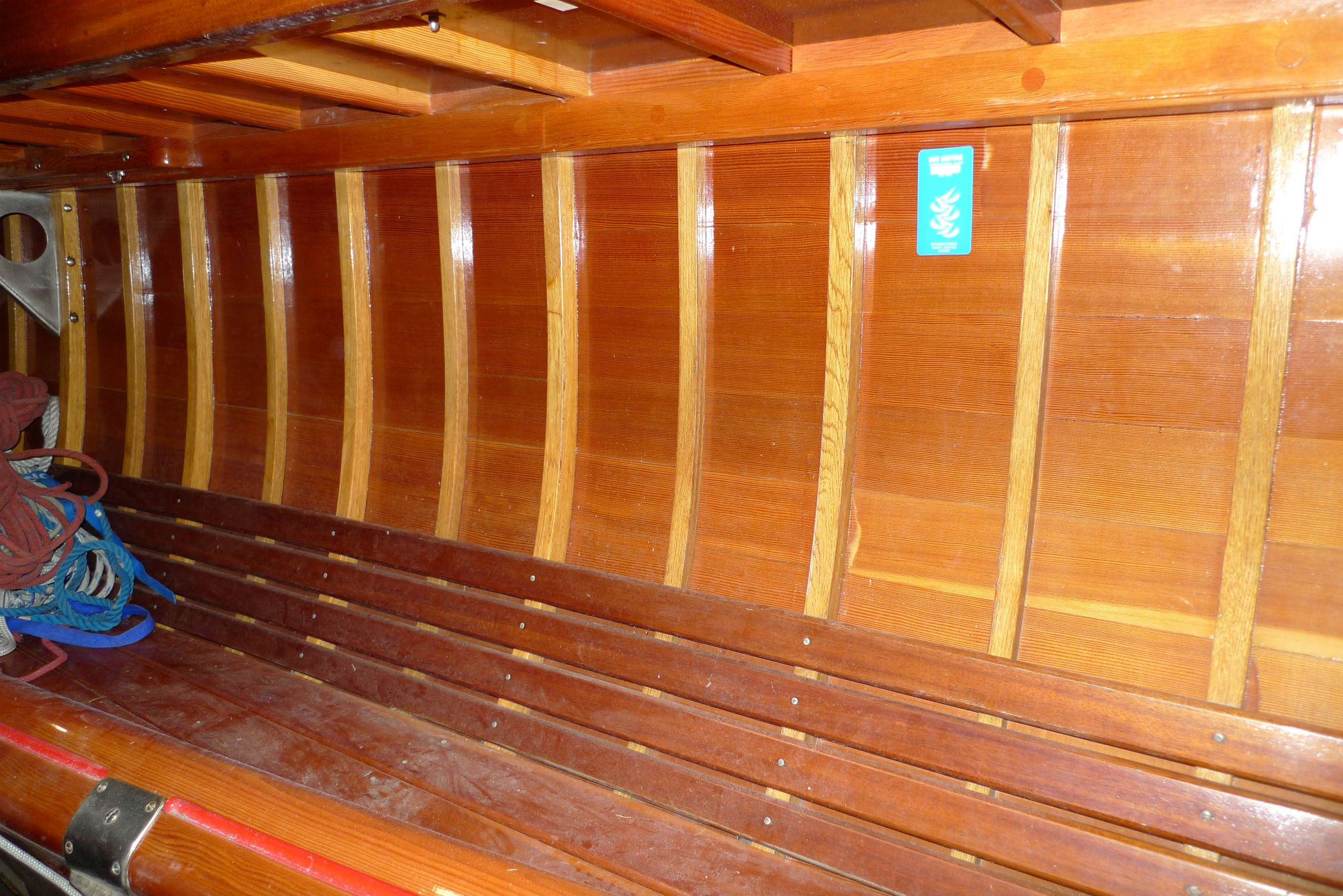 PIcture of the inside of a wooden boat