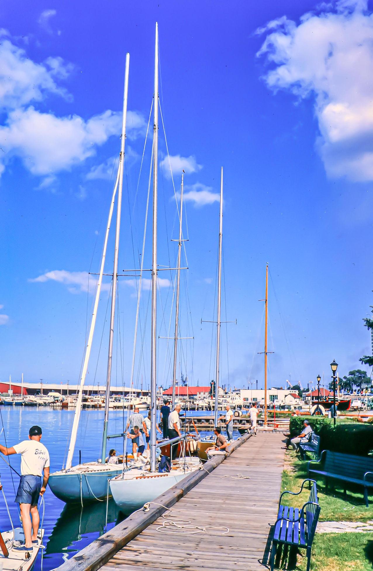 Boats moored alongside a pontoon