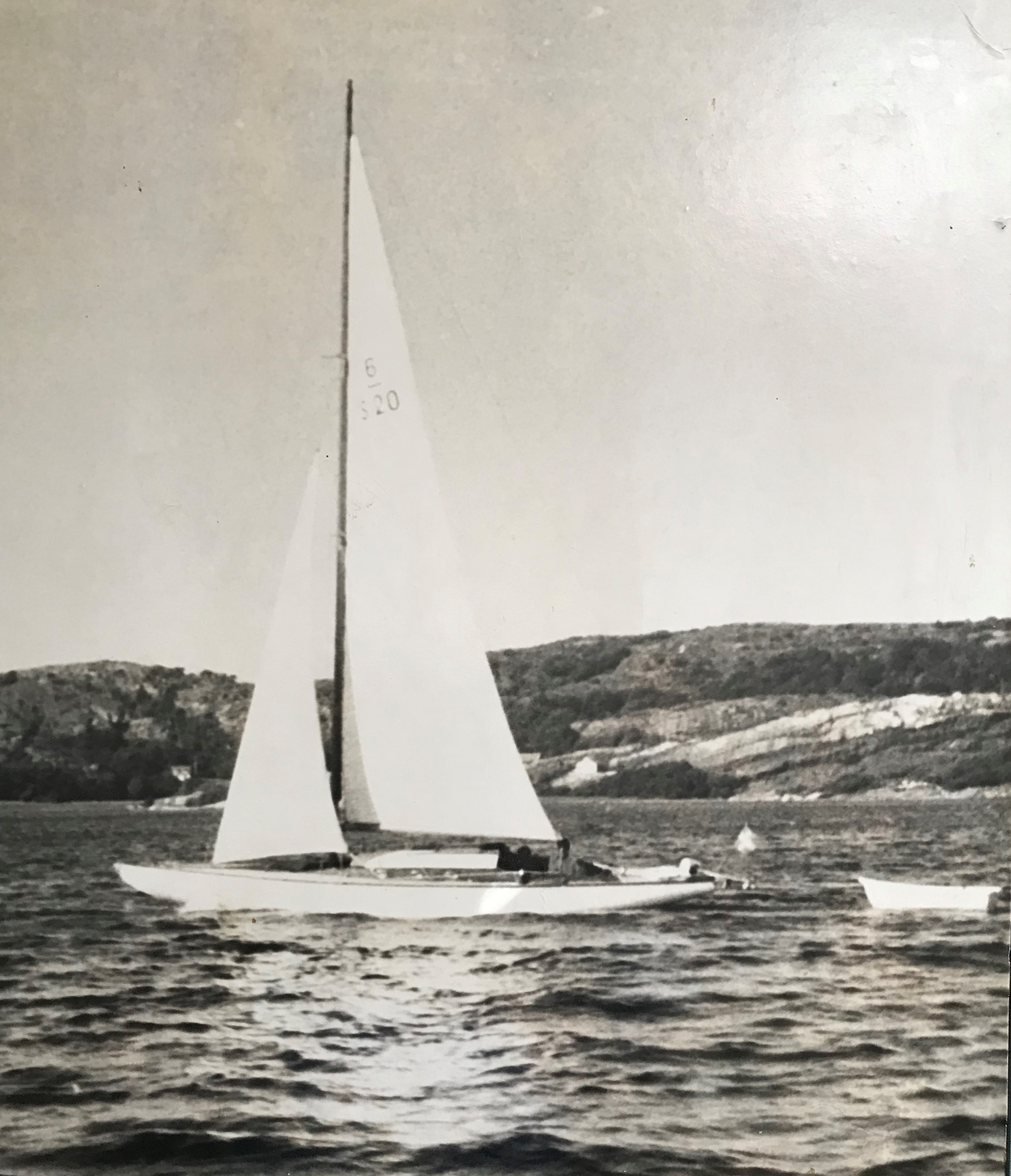 Black and white photograph of sailing boat