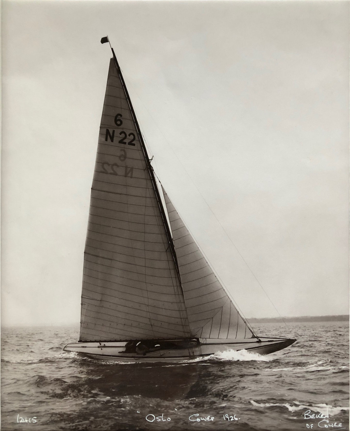 Black and white photograph of a sailing boat